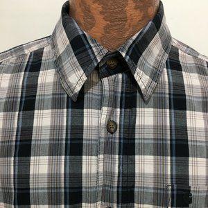 Carhartt L Blue Gray White Plaid Shirt